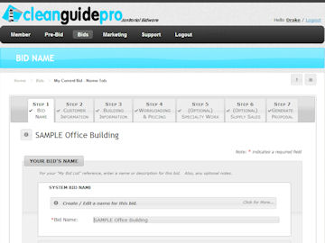 CleanlyRun Online Janitorial Bidding - Pricing Section